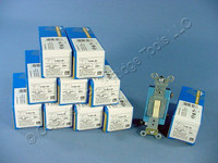 10 Leviton Ivory INDUSTRIAL Toggle Wall Light Switches 15A Single Pole 1101-2I