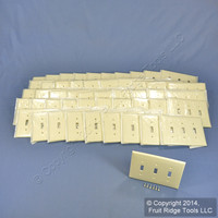 50 Leviton Almond 3-Gang MIDWAY UNBREAKABLE Nylon Toggle Switch Wallplate Covers PJ3-A
