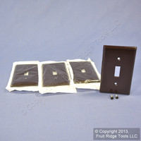 4 Leviton Brown 1-Gang Toggle Switch Covers Plastic Wallplate Switchplates 85001