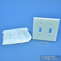 2 Leviton White UNBREAKABLE 2-Gang Switch Cover Wallplate Switchplates 80709-W