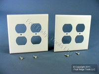 2 Leviton MIDWAY 2-Gang White Duplex Receptacle Wallplate Outlet Covers 80516-W