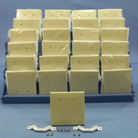 25 Leviton Ivory 2-Gang Blank Unbreakable Wallplates Strap Mount Box Covers 80734-I