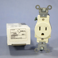 New Leviton Almond Commercial Grade Straight Blade Single Outlet Receptacle NEMA 5-15R 15A 125V 5088-A