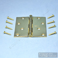 "National Hardware #V512 Bright Brass Finish Steel 4"" Removable Pin Cabinet Door Hinge N190-108"