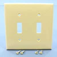 New Leviton Ivory UNBREAKABLE 2-Gang Switch Cover Wallplate Switchplate 80709-I