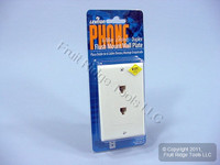 5 Leviton Decora White 6-Wire DUPLEX Phone Jack Wallplates C2647-W