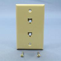 Leviton Ivory 2-Line Phone Jack Flush Mount 6-Position Wallplate Telephone Type 625B3 40244-I