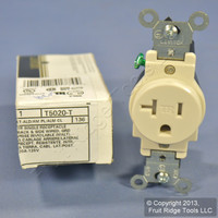 Leviton Light Almond TAMPER RESISTANT COMMERCIAL Single Outlet Receptacle 20A T5020-T