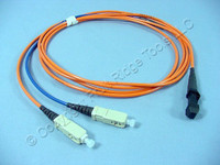 2M Leviton Fiber Optic Multi-Mode Duplex Patch Cable Cord MT-RJ DX-SC 498MC-M02