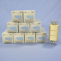10 New Leviton Ivory Decora Triple Rocker Wall Light Switches Triplex 15A 1755-I