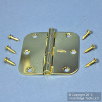 "National Hardware #V512R5/8 Bright Brass Finish Steel 3-1/2"" Removable Pin Cabinet Door Hinge N266-247"
