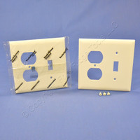2 Pass and Seymour Light Almond UNBREAKABLE Switch Plate Outlet Cover Wallplates TP18-LA