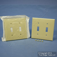 2 Leviton Ivory UNBREAKABLE 2-Gang Switch Cover Wallplate Switchplates 80709-I
