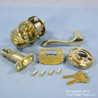 6 RIGHT Weslock Traditonale Impresa 640 Polished Brass Keylock Knob Bordeau Lever