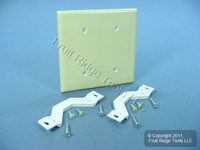 Leviton Ivory 2-Gang Blank Cover Wall Plate Strap Mount 86034