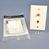 Cooper White Flush Mount 4-Conductor Voice/Data Telephone Cable CATV Video Jack Wallplate 3535-4W