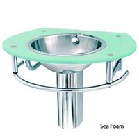 Decolav Sea Foam Glass Lavatory Bathroom Vanity Stainless Steel Sink 2240-1P-SF