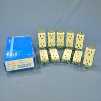 10 Leviton Almond Decora Receptacle Duplex Wall Power Outlets 5-15R 15A 5325-A