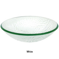 "Decolav 17"" White Rainbow Artistic Non-Tempered Glass Vanity Vessel Sink Bowl"