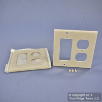 2 Leviton Decora Light Almond GFCI & Receptacle Wallplate Outlet GFI Covers 80455-T