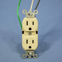 Leviton Ivory INDUSTRIAL Grade Straight Blade Receptacle Duplex Outlet Wire Leads NEMA 5-15R 15A 125V 5262-LI