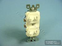 Leviton Light Almond Double Wall Light Switch Duplex Toggle 15A Single Pole 5224-2T Bulk