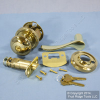 LEFT Weslock Traditonale Impresa 640 Polished Brass Keylock Knob Bordeau Latch