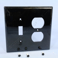 Cooper Black Mid-Size UNBREAKABLE Toggle Switch Duplex Outlet Cover Wallplate PJ18BK