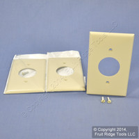 "3 Leviton Ivory 1.406"" UNBREAKABLE Receptacle Wallplates Outlet Covers 80704-I"