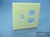 Leviton OVERSIZE Ivory 2-Gang Switch Receptacle Wallplate Outlet Switchplate Jumbo Cover 86105