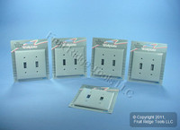 5 Leviton Gray UNBREAKABLE 2-Gang Switch Cover Wallplates Switchplate 80709-GY