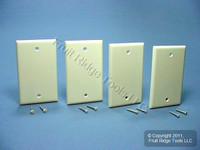 4 Leviton 1-Gang Residential Grade Almond Blank Cover Wallplates Box Mount 82014