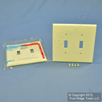 2 Leviton Almond 2-Gang Midway UNBREAKABLE Toggle Switch Cover Wallplates PJ2-A