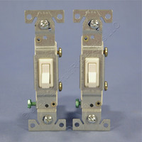 2 Cooper Lt Almond Toggle ON/OFF Light Switches Single Pole 15A Bulk 1301-7LA