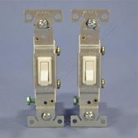 2 Cooper Lt Almond Toggle ON/OFF Light Switches Single Pole 15A Bulk 1301-7LA