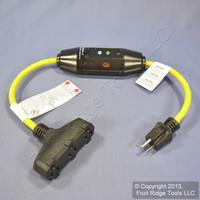 Woodhead Industrial Reset 2' In-Line GFCI Cord Tri-Tap Adapter 15A 15050-3TTM