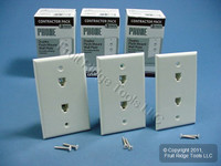 12 Leviton White DUPLEX Phone Jack Wallplates Telephone C0254-W