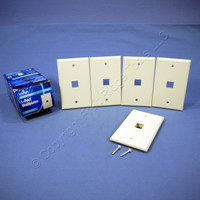 5 NEW Leviton Almond Quickport 1-Port Flush Mount High Impact Fire-Retardant Plastic Wallplate Covers 1-Gang 41080-1AP