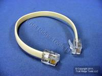 Leviton Ivory 8-Inch Phone Line Patch Cord RJ11 RJ14 RJ25 6-Wire C2654-I