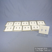 10 Leviton White Metal 2-Gang Toggle Switch Wall Plate Covers Switchplates 89999