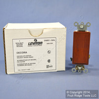 Leviton Walnut Woodgrain Finish Decora Rocker Wall Light Switch 15A Single Pole D5691-WAL