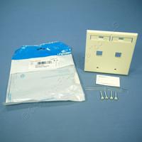 Leviton Almond Quickport 2-Port ID Window Flush Wallplate 2-Gang Cover High-Impact Plastic 42080-2AP