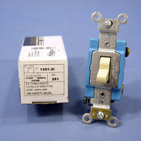Leviton Ivory INDUSTRIAL Toggle Wall Light Switch Single Pole 15A 1201-2I Boxed