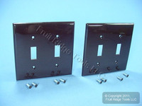 2 Leviton Brown UNBREAKABLE 2-Gang Switch Cover Wallplates Switchplates 80709