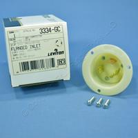 Leviton Industrial Grade White Flanged Twist Turn Locking Inlet Plug Grounding Non-NEMA 30A 3334-GC