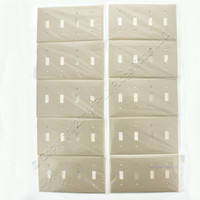 10 Leviton Ivory 4-Gang UNBREAKABLE Toggle Switch Cover Nylon Wallplate 80712-I