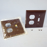 2 Eagle Mid-Size Brown 2-Gang Combination Switch Receptacle Wallplate Outlet Covers 2038B