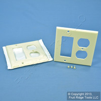 2 Leviton Decora Almond GFCI & Receptacle Wallplate Outlet GFI Covers 80455-A