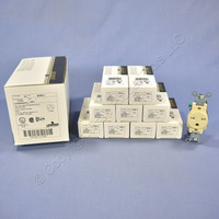 10 Leviton Ivory COMMERCIAL Single Outlet Receptacles 250V 15A NEMA 6-15R 5089-I