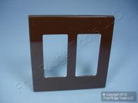 Leviton Brown Decora SCREWLESS 2-Gang Standard Wallplate GFCI GFI Cover 80309-S